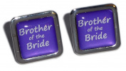 Brother of the Bride Purple Square Wedding Cufflinks.