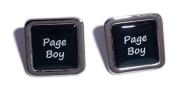 Page Boy Black Square Wedding Cufflinks.