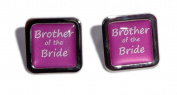 Brother of the Bride Hot Pink Square Wedding Cufflinks.