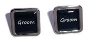 Groom Black Square Wedding Cufflinks.