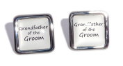 Grandfather of the Groom White Square Wedding Cufflinks.