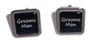 Grooms Man Black Square Wedding Cufflinks.