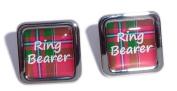 Ring Bearer Red Tartan Square Wedding Cufflinks.