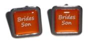 Brides Son Orange Square Wedding Cufflinks.