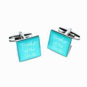Brother of Bride Teal Square Wedding Cufflinks