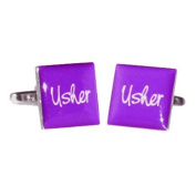 Usher Purple Square Wedding Cufflinks