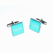 Stepfather Teal Square Wedding Cufflinks