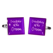 Grandfather of Groom Purple Square Wedding Cufflinks