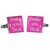 Brother of Bride Hot Pink Square Wedding Cufflinks