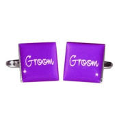 Groom Purple Square Wedding Cufflinks