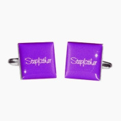 Stepfather Purple Square Wedding Cufflinks