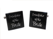 Grandfather of Bride Black Square Wedding Cufflinks