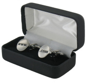 Internet Style Cufflinks - www. and .com Rhodium Plated Cufflinks in Presentation Box - includes gift tag