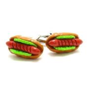High Quality Coloured Hot Dog Cufflinks