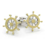 High Quality Two tone golden and rhodium plated Ships Wheel cufflinks
