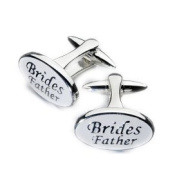 White Chrome Oval Brides Father Cufflinks - OWECUFF