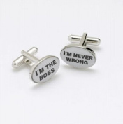 Mens Designer Fashion Cufflinks - I'm The Boss / I'm Never Wrong - For the Misguided Man