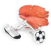 Rhodium Plated Black Epoxy Football and Boot Soccer Cufflinks Insert Gift Boxed