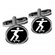 Skateboarding Skate Skater Round Cufflink Set - Silver