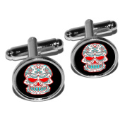 Mexican Day of the Dead Skull Round Cufflink Set - Silver