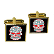 Mexican Day of the Dead Skull Square Cufflink Set - Gold