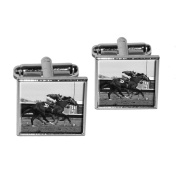 At the Track - Horse Racing Vintage Square Cufflink Set - Silver
