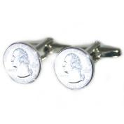 Us Quarter 25 Cents Cufflinks & Gift Pouch