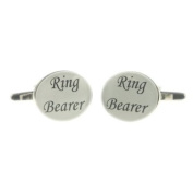 White Ring Bearer Oval Wedding Cufflinks & Gift Pouch