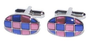 Pink & Blue Oval Cufflinks - PSF5