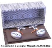 Mens Designer Rugby Cufflinks - Rugby Ball Cufflinks - Gift Boxed