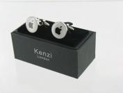 Men's Designer Stainless Steel Novelty Cufflinks - White & Black Apple - For the Apple Love