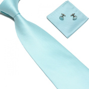 New Aqua Blue Woven Satin Men's Tie with Matching Pocket Square & Cufflinks