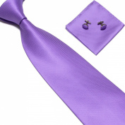 New Light Purple Woven Satin Men's Tie with Matching Pocket Square & Cufflinks