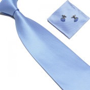 New Baby Blue Woven Satin Men's Tie with Matching Pocket Square & Cufflinks
