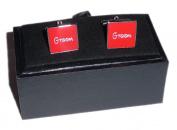 Groom Red Square Cufflinks - SSRC
