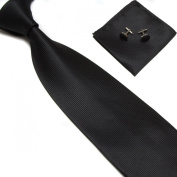 New Black Woven Satin Men's Tie with Matching Pocket Square & Cufflinks