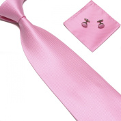 New Lush Baby Pink Woven Satin Men's Tie with Matching Pocket Square & Cufflinks