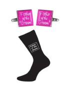 Father of the Groom Hot Pink Square Wedding Cufflinks and Black Socks Set