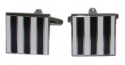 Black & White Striped Cufflinks - F14