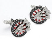 Dart Cufflinks featuring a dartboard and dart designs