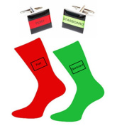 Pair of Red & Green Port & Starboard Full Colour Cotton Rich Socks & Square Cufflinks
