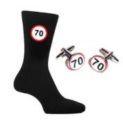 70 MPH Speed Sign Design Mens Black Socks & Round Cufflinks