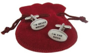 Mens Boss Accessory Cufflinks - I'm The Boss / I'm Never Wrong - For the Misguided Man