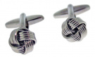 Code Red Base Metal Rhodium Plated Classic 'Knot' Cufflink