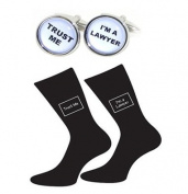 High Quality Oval Trust Me I'm a Lawyer Black Socks & Round Cufflinks
