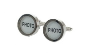 Photo Cufflinks - insert your own photos - Supplied Brown Magnetic Cufflink Gift Box