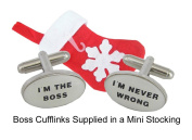 Christmas Gifts for the Boss - Boss Cufflinks for Secret Santa supplied in a Mini Stocking