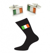 Irish Flag Cotton Rich Socks and Irish Flag with Border Cufflinks