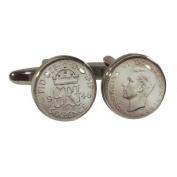 Silver Sixpence design Cufflinks