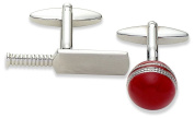 Code Red Novelty Cricket Bat and Ball Cufflinks, Rhodium Plated with Red Enamel
